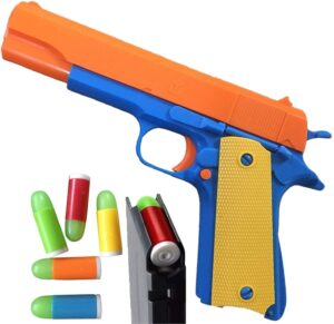 Colt 1911 Toy Gun - Style of M1911 with Slide Action Orange Barrel for Safety Training or Play